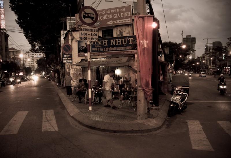Street corner coffee shop in Saigon